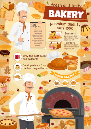 Baker with pizza and desserts menu poster for bakery shop and pastry food. Bread and baguette, cake and roll with jam, toast and donut. Croissant and waffles, gingerbread cookie and cupcake vector