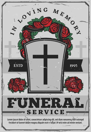 Gravestone with cross and rose wreath on funeral service poster. Tomb and loving memory attributes for burial. Death and memorial service poster with flower decoration above tombstone vector