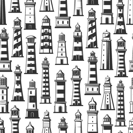 Seamless pattern of lighthouses or beacons. Marine constructions with light signal on top for nautical navigation. Striped building in shape of tower in ocean or sea monochrome ornament vector