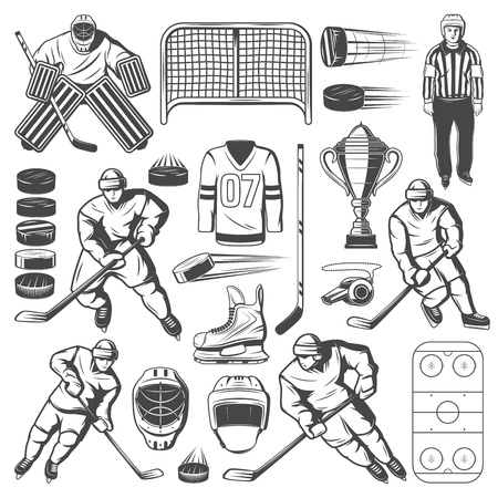 Ice hockey icons of players, sticks and pucks, rink, trophy and goal gate, uniform helmets, skates and goalie mask, glove, referee whistle and goalkeeper. Winter sport team game vector design