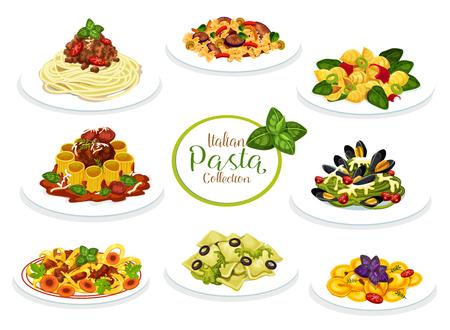 Platos de pasta de la cocina italiana. Ilustración de vector