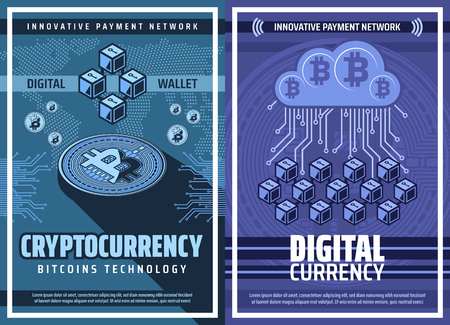 Cryptocurrency, bitcoin wallet blockchain, crypto currency or digital money technology vector poster. Bitcoin mining farm, virtual transactions of exchange and payment, cloud mining online business