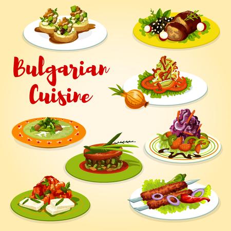 Bulgarische Küche Gemüse, Meeresfrüchte und gegrillte Fleischgerichte. Vektorgemüse, Meeresfrüchtesalate, Kebapche und Auberginen-Tomateneintopf, Zucchini-Käse-Toast, gebackene Lamm- und Kohlsuppe