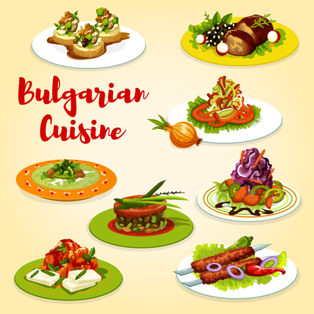 Bulgarian cuisine vegetable, seafood and grilled meat dishes. Vector vegetable, seafood salads, kebapche and eggplant tomato stew, zucchini cheese toast, baked lamb and cabbage soup