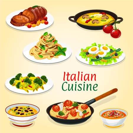 Italian cuisine dishes of meat and fish, pasta. Vector spaghetti with meatballs and tomato sauce, vegetable soup and pesto linguine, baked pork, broccoli cheese penne, tuna egg salad and chestnut soup