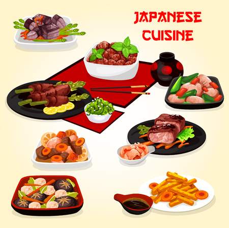 Japanese cuisine meat dishes with vegetables and meat.