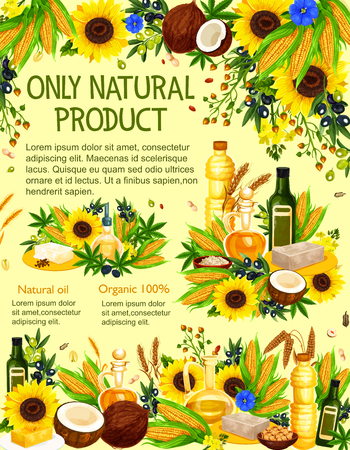 Vector natural oil made from olives, sunflower seed and corn, rapeseed, canola and peanut, soybean, coconut and walnut, hemp, sesame and flax with vegetable, fruit and plant ingredients