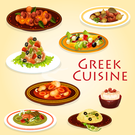 Greek cuisine seafood and meat dishes.
