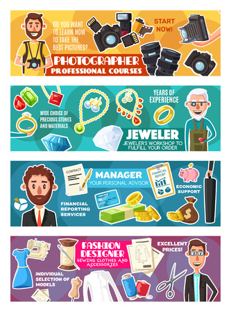 Occupations of manager, photographer, jeweler and fashion designer professions. Workers of finance, fashion, craft and photography industries with money, camera, jewelry and clothes. Vector theme