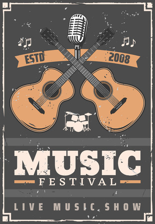 Music festival musical instruments, guitar, drum set, retro microphone and notes. Live music show and acoustic concert vintage poster, entertainment vector theme Stock Vector - 127088298