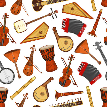 Music instruments seamless pattern background. Vector violin, djembe drum and banjo, balalaika, accordion and sitar, flute, zither, shamisen and bandura. Percussion, wind and string folk instruments