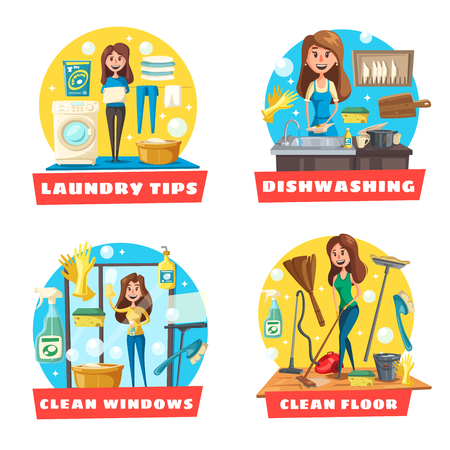 Cleaning and laundry service icons with girl doing housework. Çizim