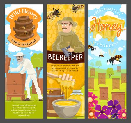 Finca apícola de miel natural, apicultor, colmena de abejas y colmenar, panal, néctar de flores y jarra con cucharón, traje protector, sombrero y ahumador. Diseño de vectores de dibujos animados de productos alimenticios de apicultura