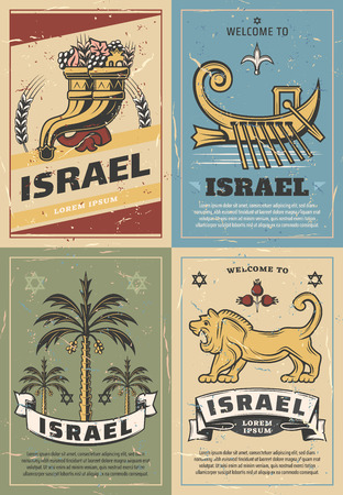Welcome to Israel travel poster with jewish religion symbols.