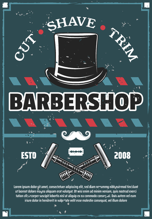 Barbershop and haircut saloon with hair, beard and mustache grooming accessories. Barber razor, blade and moustache with vintage hat. Gentleman barber shop and hairdressing salon vector design