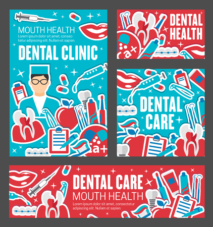 Dentistry, dental care and tooth oral hygiene. Dentist doctor, toothpaste and braces, whitening retainer, toothbrush and floss, healthy smile, denture and implant flat posters. Healthcare vector theme