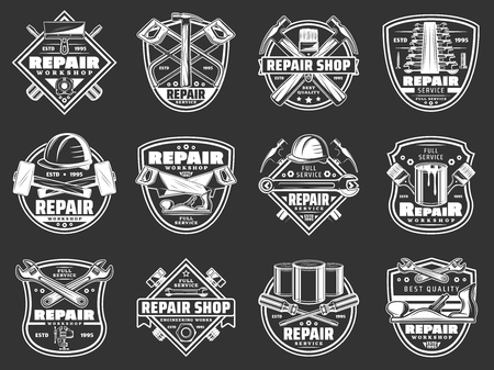 Construction and repair tools retro badges