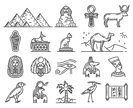 Egypt thin line icons of ancient gods and religion symbols.