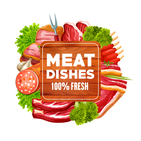 Meat food vector frame of beef steak, pork sausage and ham, bacon, ribs and salami, lamb loin and chops with barbecue fork, garlic and salad leaves. Butchery shop, bbq restaurant and grill bar design 일러스트
