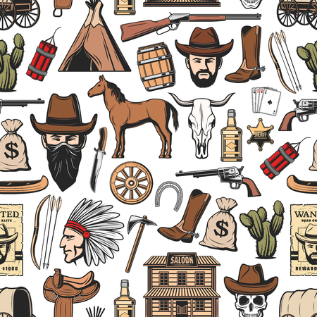 Wild West seamless pattern background with western vector symbols. Texas cowboy in hat, cow skull and lasso, cactus, rodeo horse and horseshoe, sheriff gun, boots and star, saloon and aztec indian