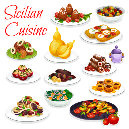 Sicilian cuisine vector eggplant stew caponata dish, cannoli and fried rice balls arancini.