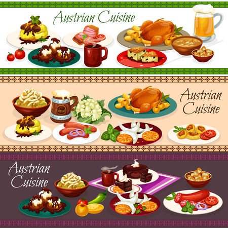 Austrian cuisine main dishes, desserts and drinks. Vector tyrolean beef stew goulash, sausages and beer soup, potato pasta with cabbage, goose and cheese knodel, cookie, chocolate and nut cakes