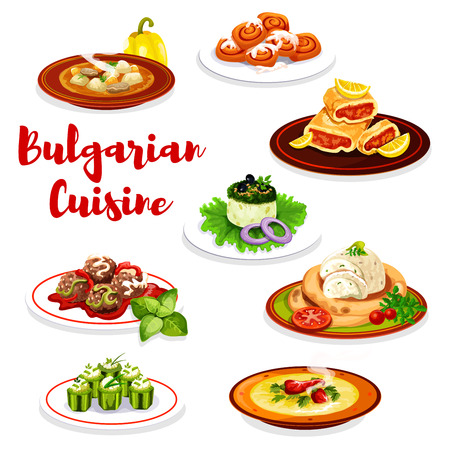 Bulgarian cuisine dishes with vegetable, meat and pastry dessert. Vector beef soup, meatball and cucumber stuffed with cheese bryndza, yogurt salad, eggplant pate, lemon cake roll and cinnamon bun Ilustração