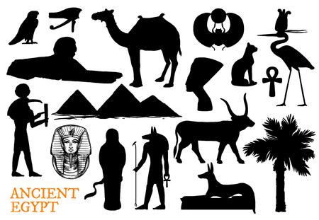 Símbolos de la religión del antiguo Egipto con dios y siluetas de monumentos de viaje.
