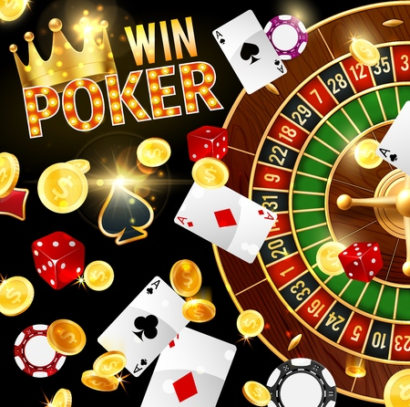 Poker, casino and gambling, roulette wheel and dice. Vector stake chips and play cards, gold royal crown and coins, easy earning. Win of jackpot, game of luck and gamblers club, aces combination
