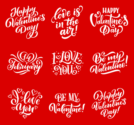 Happy Valentine Day lettering for 14 February season holiday greeting card. Standard-Bild - 113538185