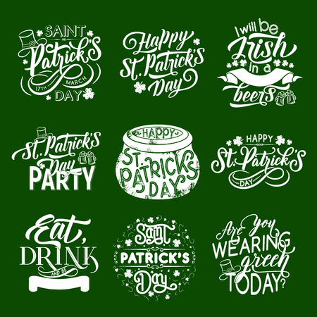 St Patrick Day Irish holiday celebration icons for greeting card design. Vector isolated symbols of Saint Patrick day shamrock clover leaf, beer pints and leprechaun hat and pot on green background Vector Illustratie