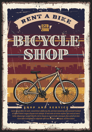 Bicycle shop, rent and repair service. Vintage vector bike with city skyline on background. Bike tour, city transport and urban travel theme Stock Vector - 113261191