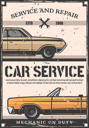 Car repair service, retro auto tuning and restoration, vehicle garage and mechanic workshop. Vector vintage sedan, automobile diagnostics and maintenance poster with spanner and wrench