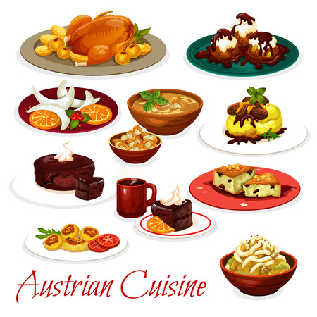 Austrian cuisine meat and vegetable dishes with desserts.
