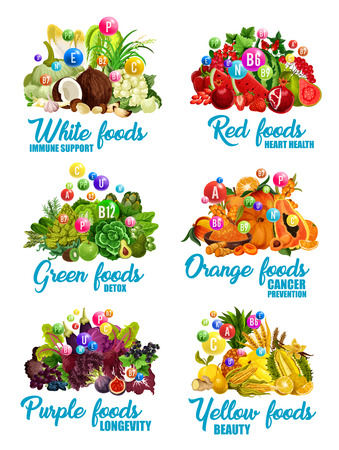 Color diet health benefits icons with white, red and orange, green, purple and yellow groups of vitamin and healthy food. 向量圖像