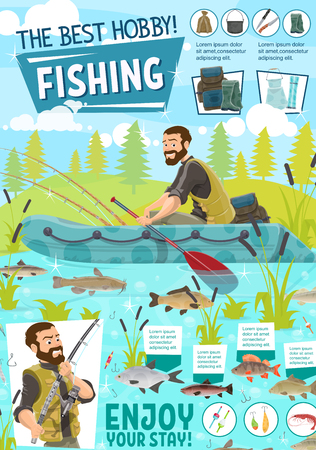 Fisherman, fishing boat and fish catch, tackle and sport equipments. Fishing rod, hook and lure, salmon, bass and trout, carp, perch and pike, bait, reel and net. Summer outdoor recreation vector