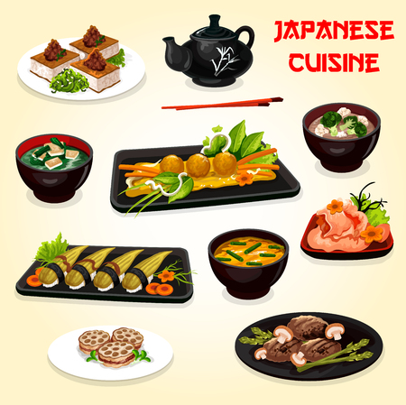 Japanese and asian cuisine vector dishes. Çizim