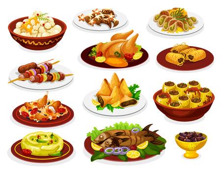 Comida de ramadán de comida de fiesta iftar con platos árabes.