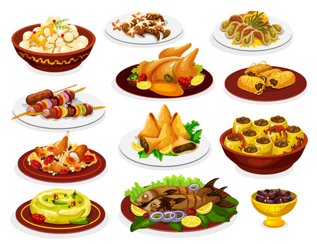 Ramadan jedzenie posiłku iftar party z daniami arabskimi.