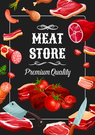 Meat store, premium quality meaty products and sausages. Imagens - 113538570