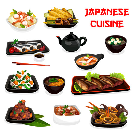 Japanese dishes with seafood and vegetables.