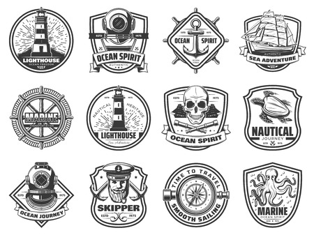 Nautical badges with sea anchor, ship and helm.