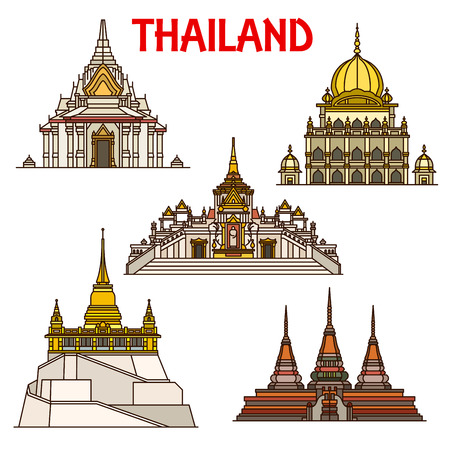 Thai travel landmarks of Bangkok buildings vector icons. 向量圖像