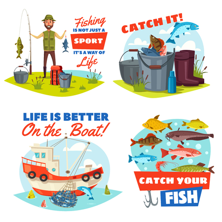 Fishing sport vector icons with fisherman, fish and boat.