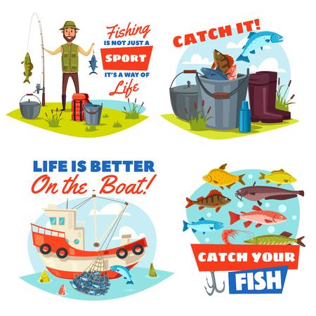 Wędkowanie sportowe wektorowe ikony z rybakiem, rybami i łodzią.