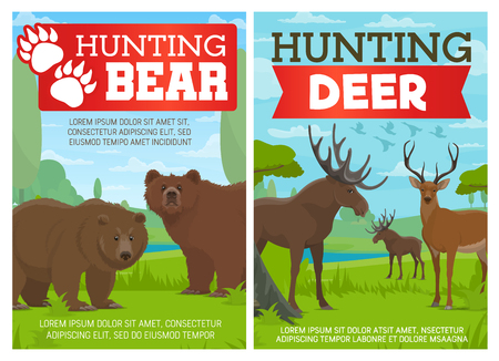 Deer and bear hunting sport poster. Wild buck of elk, reindeer stag with antlers and brown grizzly animals in forest green tree landscape. Open hunt season and hunter club vector design Çizim