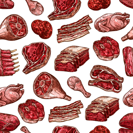 Meat food seamless vector pattern of beef and pork steak, ham and chicken, burger patty, turkey leg and rib roast, loin chops and rustic belly. Butcher meat cuts backdrop