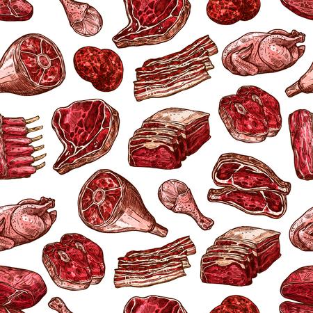 Modèle vectoriel harmonieux de viande de boeuf et de porc, de jambon et de poulet, de galette de hamburger, de cuisse de dinde et de rôti de côtes, de côtelettes de longe et de ventre rustique. Toile de fond de coupes de viande de boucherie