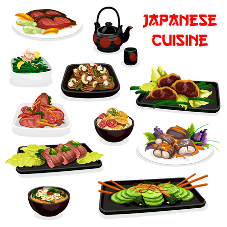 Japanese fish and meat dishes, traditional cuisine.