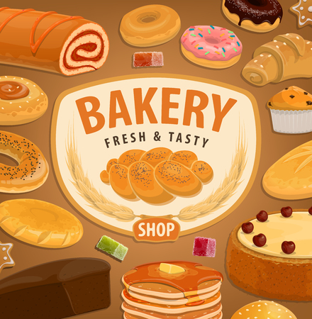 Bakery and pastry food vector products of wheat bread, croissant and baguette, cake dessert, bagel and cookie, chocolate donut, cereal bun and cupcake, jelly candy, muffin and pie. Baker shop